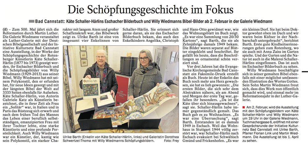 Quelle: Cannstatter/Untertürkheimer/Esslinger Zeitung 10.01.2017