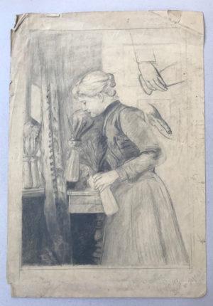 M-Ehrich-Frau-stehend-mit-Vase