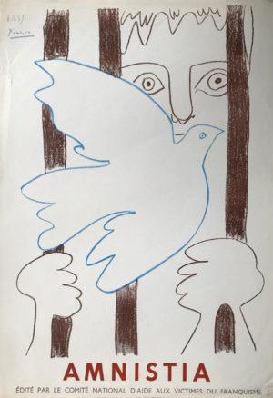 Picasso-Plakat-Taube-Frau-hinter-Gitter