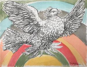 Picasso-Taube-vor-Regenbogen